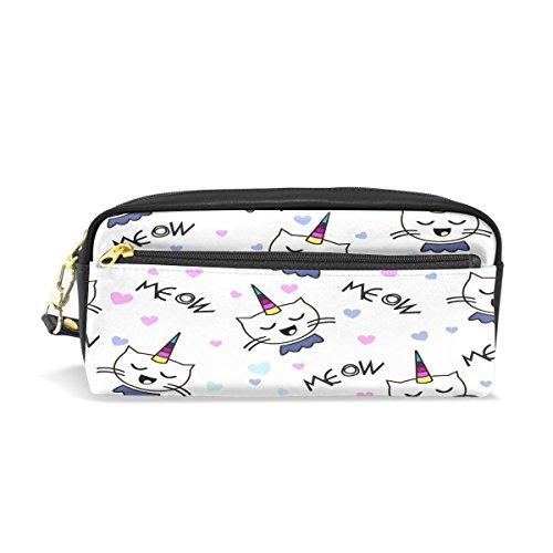 Bleistift Fall, Cute Cat Einhorn Print Pen Bag Travel Make-up Tasche Geldbörse groß Kapazität PU wasserdicht mit Reißverschluss Fach für Mädchen Jungen Frauen Schule
