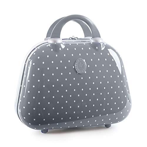VICTORIO & LUCCHINO - 80135 Neceser rígido policarbonato PC grande de viaje, maleta de aseo. Cierre cremallera doble cursor. Asa retráctil. Espejo interior, Color Gris