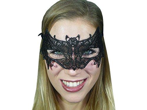 HO-Ersoka Damen Augenmaske Spitze Fledermaus Style Maskenball Venezia schwarz
