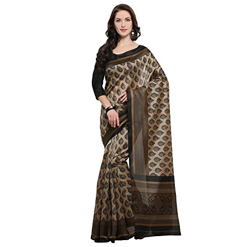 Rajnandini Women's Jute Silk Printed Saree(JOPLNB11013_Brown_Free Size)