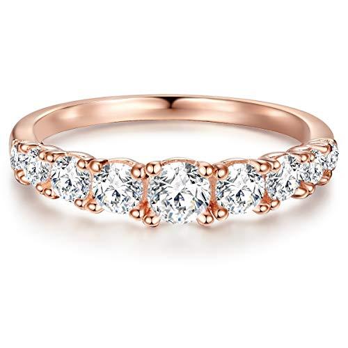 ng Verlobungsring Sterling Silber in Roségold-Farben mit Zirkonia weiß in Brilliant-Schliff - Memoire-Ring mit Stein Trauring für Hochzeit rosévergoldet ()