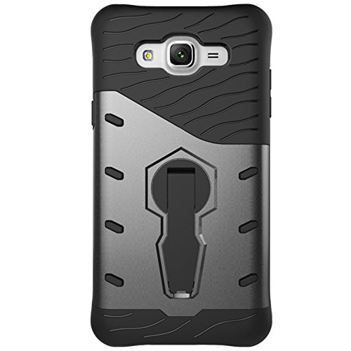 Für Samsung Galaxy J7 Case 2 In 1Tough Hybrid Heavy Duty Shock Proof Defender Cover Dual Layer Armor Combo Mit 360 ° Swivel Stand Schutzhülle Fall ( Color : Black ) Black