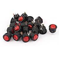 DealMux AC 250V/6A 125V/10A Red Light On-Off Round Rocker Switch Kcd1 20 Pcs