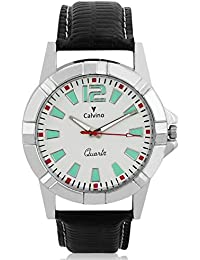 Calvino White Dial Analog Watch For Men/boys CGAS_176019AT_BLK_WHT