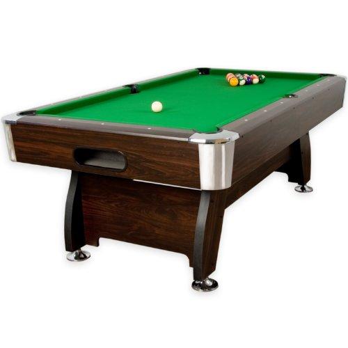 Maxstore 7 ft Billardtisch Premium' + Zubehör, 9 Farbvarianten, 214x122x82 cm (LxBxH), Dunkles Holzdekor, grünes Tuch