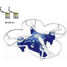 FQ777-124 + Upgrade Mini Drone Micro Drone RC con control remoto y 2PCS Batería 3D Roll Headless Mode Una llave para devolver 2.4G 4CH 6Aixs Gyro RC Quadcopter RTF (Azul)