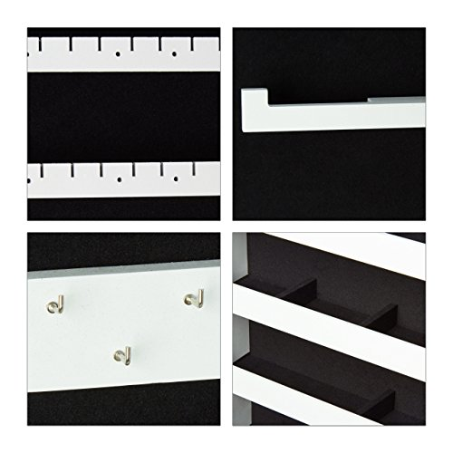 Relaxdays Schmuckschrank Spiegel zum Stellen, Schmuckkasten abschließbar, Spiegelschrank LED, HBT: 151x46x36,5 cm, weiß - 7