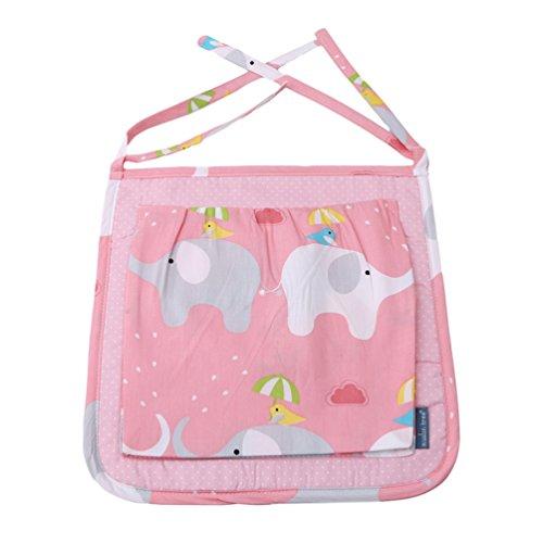 Krippe Windeln Taschen (Albeey Baby Kinderzimmer Organizer Windel Aufbewahrungstasche Krippe Kinderwagen Babybett hängende Organizer Storage-Tasche (Rosa))