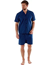 Harvey James Mens Pyjamas Short Pyjama Short Pyjamas Blue Nightwear