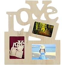 KaariFirefly 3 en 1 blanco hueco Amor de madera familia marco de fotos DIY Art Decor Frame
