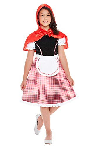 Smiffys 47755L Deluxe Rotkäppchen-Kostüm, Mädchen