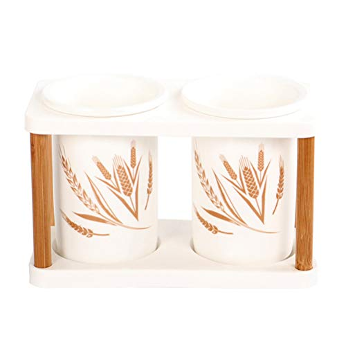 BESTONZON 1 stück Keramik Utensil Container/Abnehmbare Teiler/Greifteinsatz/Essstäbchen Organizer für Küche Spatel Zangen Besteck Gabel Löffel Utensil Crock