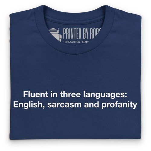 Fluent In Three Languages T-Shirt, Herren Dunkelblau