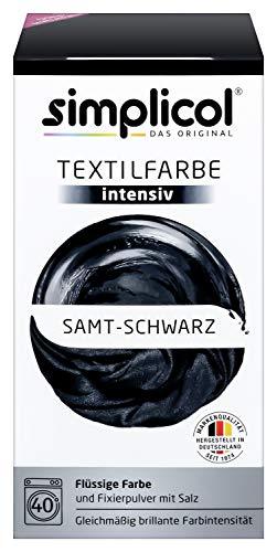 simplicol Textilfarbe intensiv (18 Farben), Samt Schwarz 1818: Einfaches Färben in der Waschmaschine, All-in-1 Komplettpackung