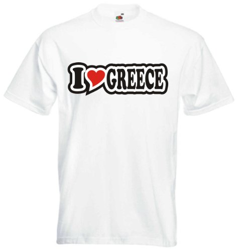 T-Shirt Herren - I Love Heart - I LOVE GREECE Weiß