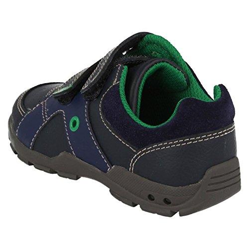 Clarks Flash Pop ragazzi scarpe prime in blu marino o marrone Navy Combi