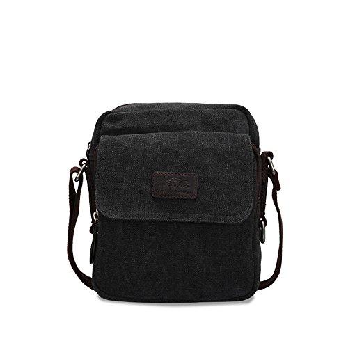 Bwiv Herren Canvas Umhängetasche Schultertasche Messenger Bag Crossbody Tasche für Outdoor B · Olive B · Schwarz