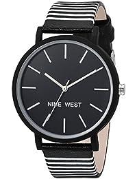 Nine West Women's Quartz Metal and Polyurethane Dress Watch, Color:Black (Model: NW/2161BKBK)