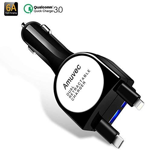Amuvec Caricabatteria Auto USB(6A/40W) 2 Porte,Quick Charge 3.0 con Cavo Retrattile Tipo C&iP Connettore per Cellulari Phone X/8/7/6s/Plus,Samsung Galaxy S8/S7/Edge,Huawei P9/P10,altro Dispositivi USB