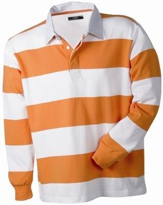 Rugby Langarm Longsleeve Polo Shirt ( Poloshirt ) in Weiss - Orange Gestreift Grösse M (Gestreiftes Rugby-shirt)