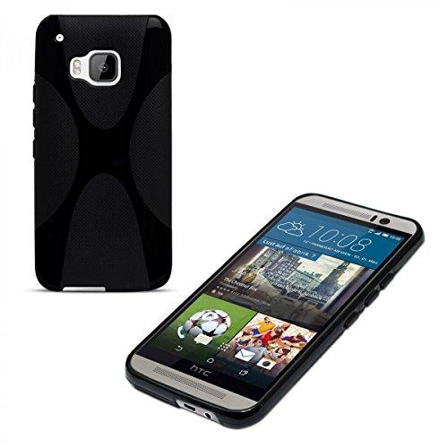 eFabrik Silikonhülle für HTC One M9 und HTC One M9 Prime Camera Edition Hülle Cover Smartphone X-Line Case Handy Zubehör TPU Silikon schwarz