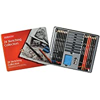 Derwent 34306 Sketching Collection Tin, Drawing and Sketching Mixed Media with Accessories - Multi-Colour, Set of 24