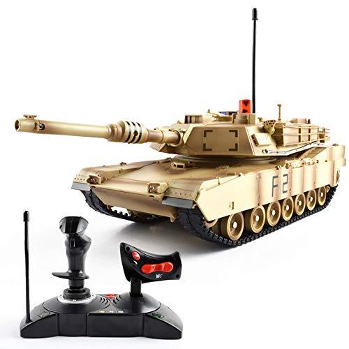 Tletiy Kinder Fernbedienung Tank Crawler RC Kampfpanzer USA M1A2 Fernbedienung Kampf Panzer Spielzeug Hand schütteln Griff Hebel Griff Jungen 27Mhz Geschenk für Kinder 3+ (Color : Camouflage Yellow) -