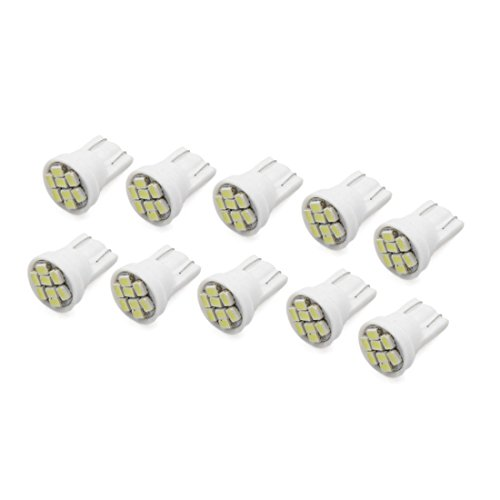 sourcing map 10Pcs T10 8W 8-3020- SMD Voiture LED Blanc Froid Lampe Témoin pan Int W5W 194 168
