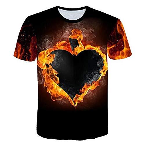 Männer Frühling Sommer Männer T-Shirts 3D Gedruckt Tier t-Shirt Kurzarm Lustige Design Casual Tops Tees Männlich,3D gedrucktes Liebesschwarzes L -