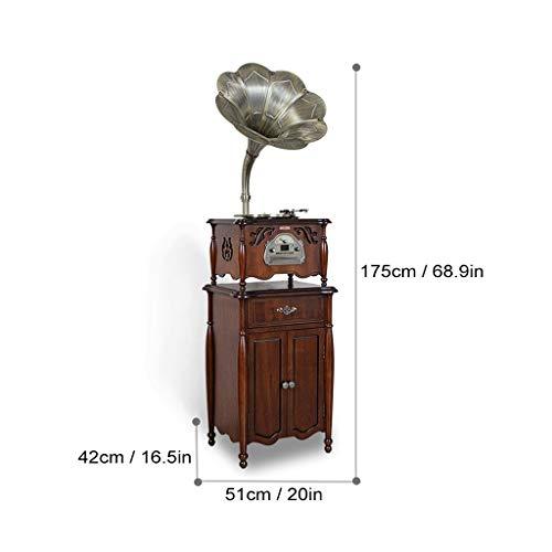 GOM Plattenspieler Bluetooth Lautsprecher, 3-Speed Turntables, Eingebaut Stereo HiFi Audio Lautsprecher-Systeme, Cinch-Ausgang, Unterstützung CD-Spieler, Radio, USB-Anschluss (Color : Brown) - System Turntable Stereo