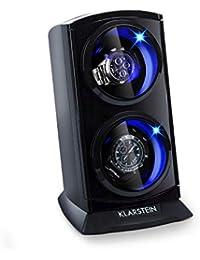 Klarstein St. Gallen Premium - Watch Winder, Watch Holder, Watch Case, Capacity: 2 x Automatic Watches, 4 Speeds, Right-Left Running, Smooth, Black
