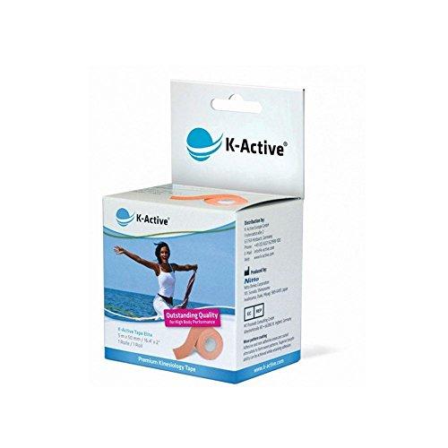K-Active Kinesiologisches Tape Elite I Starkes und sanftes K-Active Tape für Schulter, Rücken, Nacken, Knie   Singlebox 5 cm x 5 m (beige)