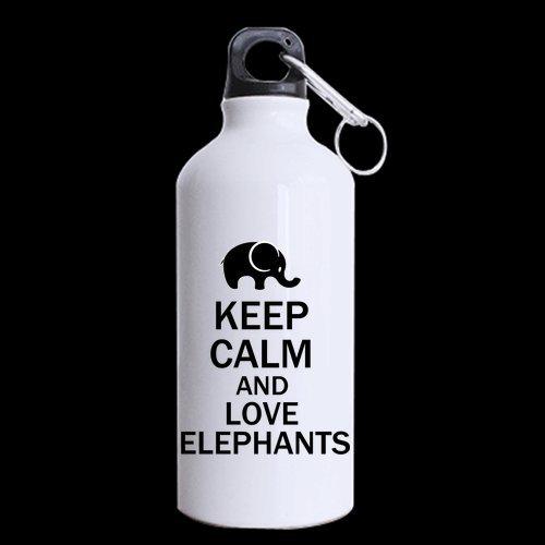 Generic personnalisé Keep Calm and Love Motif éléphant 382,7 gram en acier inoxydable Bouteille de sport Mug personnalisable pour un cadeau de vacances ou cadeau d'anniversaire