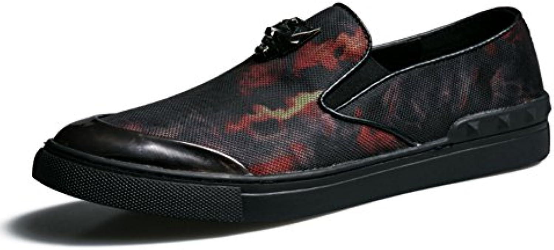 Men's Leder Freizeit Sehnen Schuhe Dress Herbst Business Hochzeit Mode Rutschen Schwarzer Druck