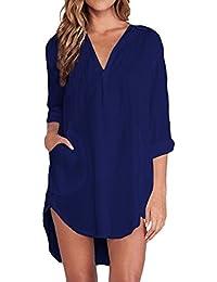 ZANZEA Mujeres Camisa Elegante Blusa Mangas Largas Camiseta Chiffón Polsillo Escote V