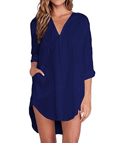 ZANZEA Femme Chemise Manches Longue Tunique Lâce Mini Robe Mousseline T-Shirt Tops Haut Blouse Bleu EU 44/ US 12 UK 16