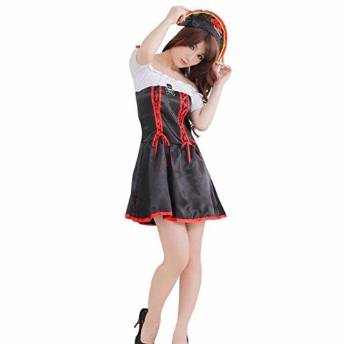 Cosplay Partei Kleid Damen, DoraMe Frauen Cosplay Halloween Kostüm Partei Kleid Piraten Königin Kleider Bodysuit Dress (Freie Größe, (Piraten Halloween Kostüme Günstige)