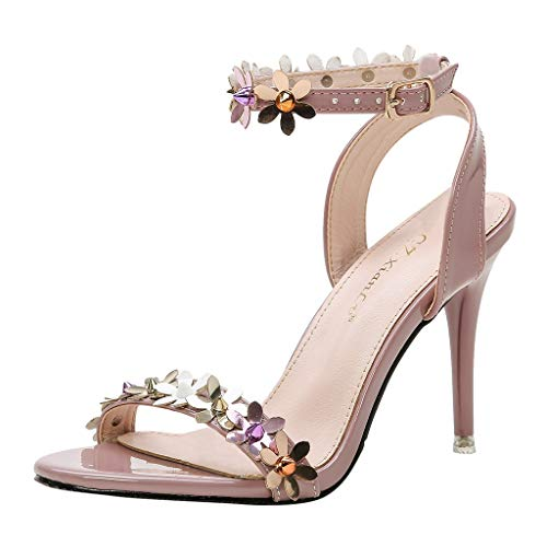 SSUPLYMY High Heels Sandalen Damen Sommer Elegant Böhmen Blumen-Perlen Flip-Flop Schuhe Flache Sandalen Schuhe Mode Strandschuhe Pantoletten Sommerschuhe Knöchelriemchen Sandalen