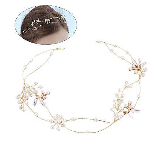 BESTOYARD Braut Haarband Perlen Imitation Perle Kristall Haarband Kopfbedeckung Hochzeit Kleid Zubehör (Kristall Hochzeit Kleid)