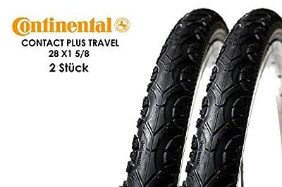 """2 Stück 28"""" Zoll CONTINENTAL Contact Plus Travel Fahrrad Reifen 37-622 Mantel Decke 28 x1 5/8 Reflex Streifen tire schwarz"""