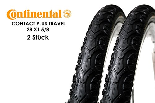 """2 Stück 28\"""" Zoll CONTINENTAL Contact Plus Travel Fahrrad Reifen 37-622 Mantel Decke 28 x 1 5/8 Reflex Streifen tire schwarz"""