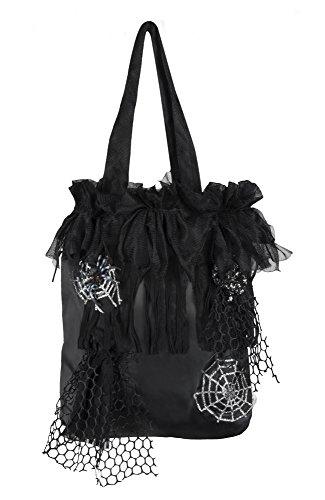PARTY DISCOUNT Tasche Hexe Hazel schwarz mit Spinnennetzdekor