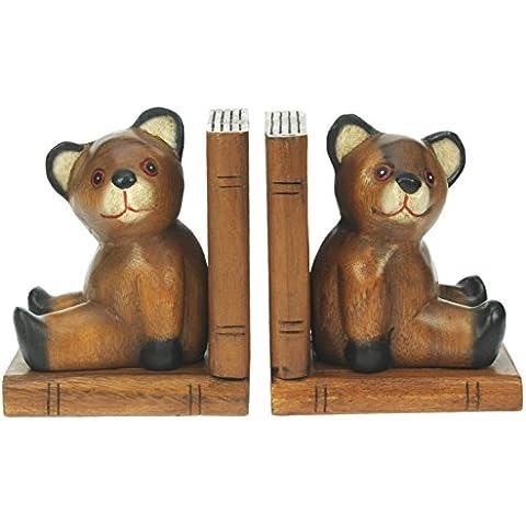 Reggilibri Bear - intagliato a mano da regalo tradizionali in legno. Set di 2: Top di Natale e di compleanno Idea regalo: alta qualità tradizionale Presente in legno di natale per bambini, adulti o amanti degli animali!