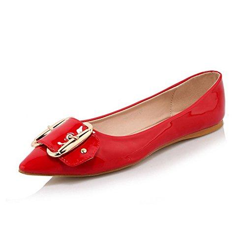 AllhqFashion Femme Verni Pointu à Talon Bas Tire Couleur Unie Chaussures à Plat Rouge