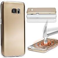 URCOVER Custodia 360 Gradi Metal Look | Samsung Galaxy A5 2015 | Cover Completa Morbida in Due Parti Fronte + Retro | Protezione Integrale 3D Salva Schermo in Oro
