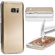 Urcover® Samsung Galaxy S6 Edge Plus | Funda Carcasa 360 Grados Ultra Slim Metálico | TPU en Oro | Case Cover Protección completa Smartphone Móvil Accesorio