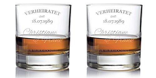 AMAVEL 2er Set Whiskygläser – Silberhochzeit – Whiskyglas mit Gravur – Personalisiert mit [Namen] und [Datum] – Whiskyegläser Tumbler – Geschenke für Ehepaar – 25. Hochzeitstag – Füllmenge: 320 ml