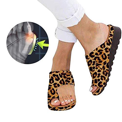 Cartey Bunion Splints, Damen Big Toe Hallux Valgus Unterstützung Plattform Sandale Schuhe für die Behandlung - Hat Womens Leopard