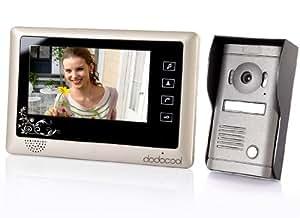 KKMOON Sonnette Interphone vidéo et caméra de sécurité avec écran TFT 7'' LCD Argent