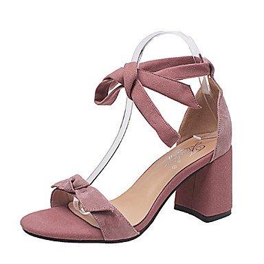 Scarpe Donna FYZSDonne Sandali estate PU comfort all'aperto Walking tacco bowknot Buckle Blushing Rosa Beige Nero US6.5-7 / EU37 / UK4.5-5 / CN37